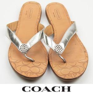 Coach Sara 7 Flip Flop Sandals Silver Metallic